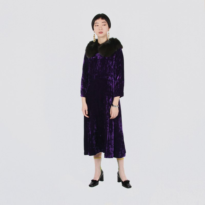 [Egg Plant Vintage] Purple Jade Light and Shadow Velvet Vintage Dress