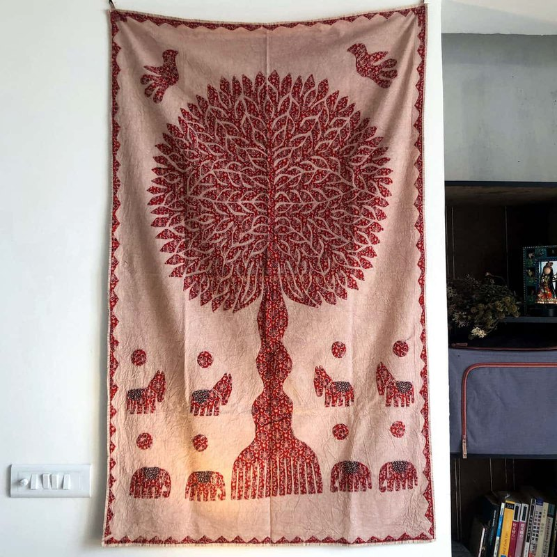 Tree of Life Hand-Sew Patchwork Wall-Peach Red B