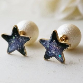 ArtGalaxy and full moon universe scenery earrings / earrings