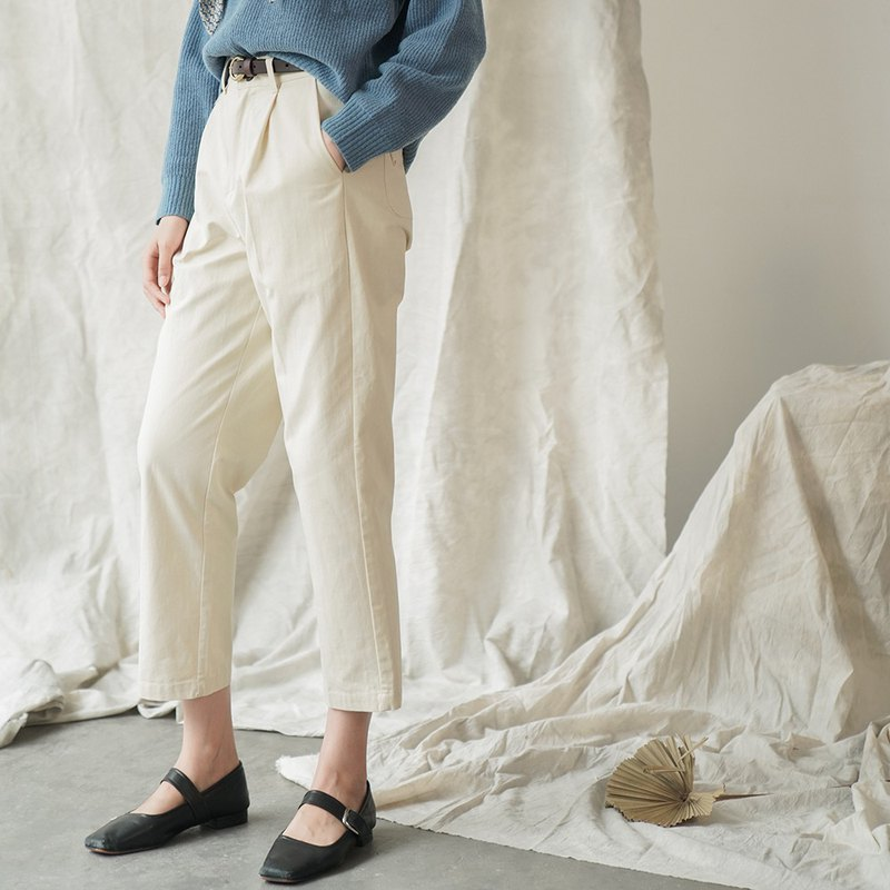 Avene wind | butter white white retro pockets casual trousers and a wild pants