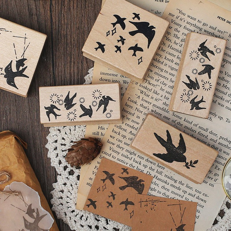Letter of lovers wooden seal <Bird's poem> Pocket decoration retro bird swallow Japanese hand account material