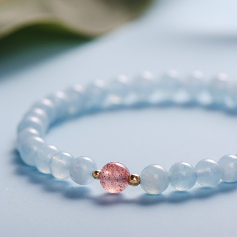 Aquamarine, Strawberry Rose quartz, K14GF Natural Gemstone Crystal Bracelet