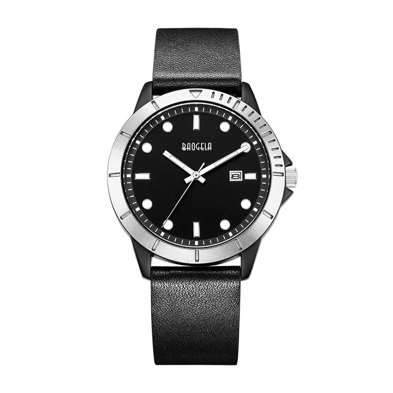 BAOGELA - DISCOVER Silver Black Dial / Black Leather Watch