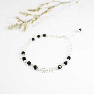 [] ColorDay smiling little white _ ~ black onyx crystal sterling silver bracelet <Onyx_Crystal Quartz Silver Bracelet>