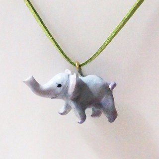 Hand-painted baby elephant necklace