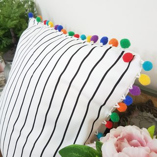 Nordic Style Striped Colored Hair Ball Pillow/Cushion