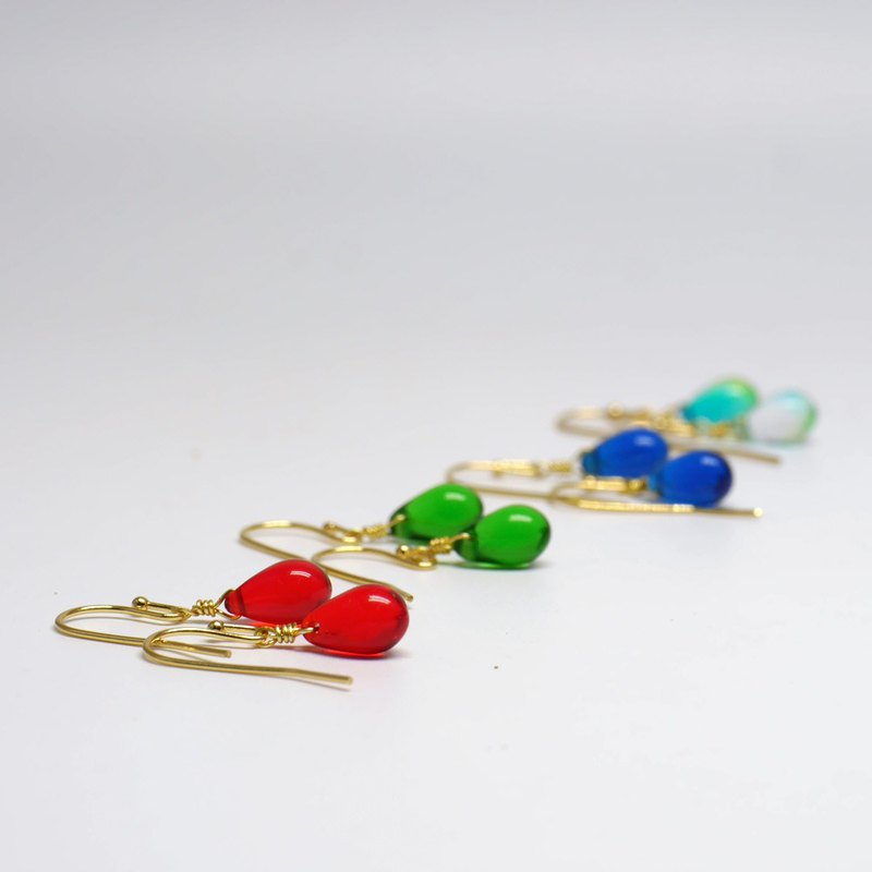 Gold-plated Colorful Glass Bead Earrings
