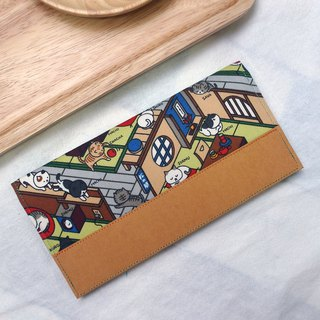 Collect cat Japanese cloth washed kraft paper clip | long clip wallet