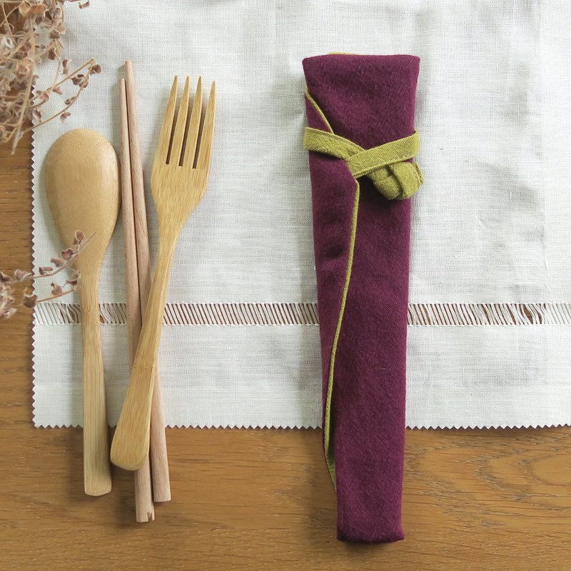 Cotton tableware storage bag - tableware bag | wide version | grape purple x mustard yellow