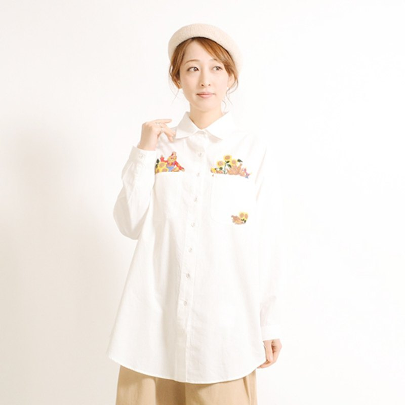 Sunflower corn farmer embroidery long sleeve shirt blouse