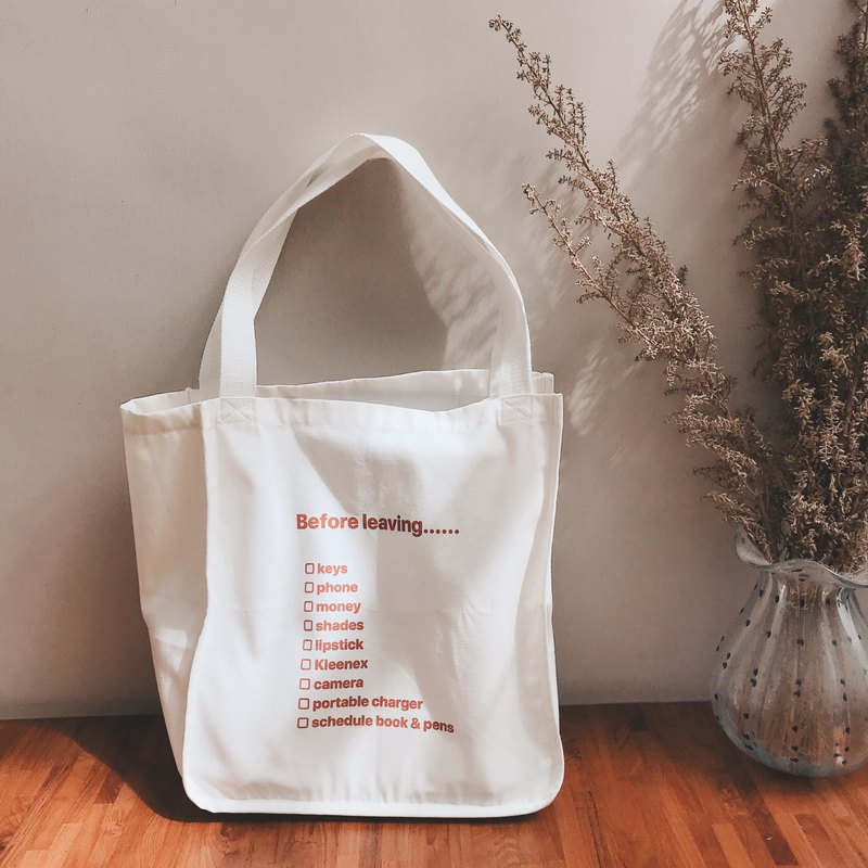Before leaving tote bag