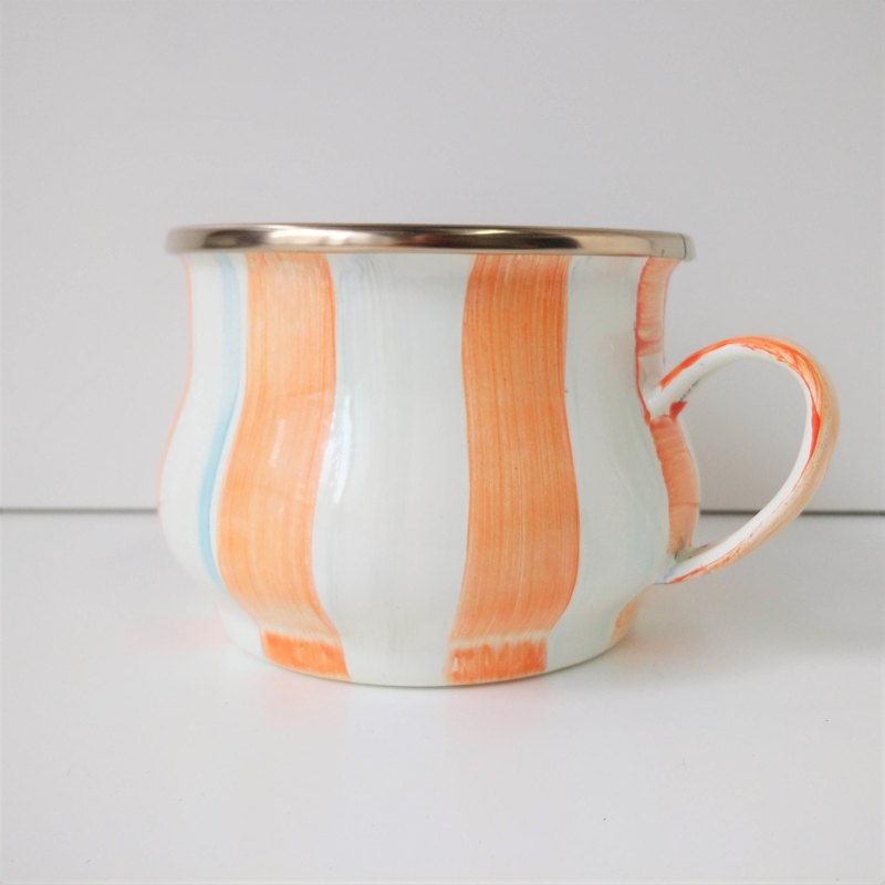 Pumpkin Orange Striped Painted Cup | Keji Color