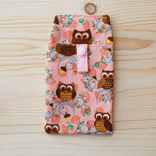 Flower owl pocket pencil bag