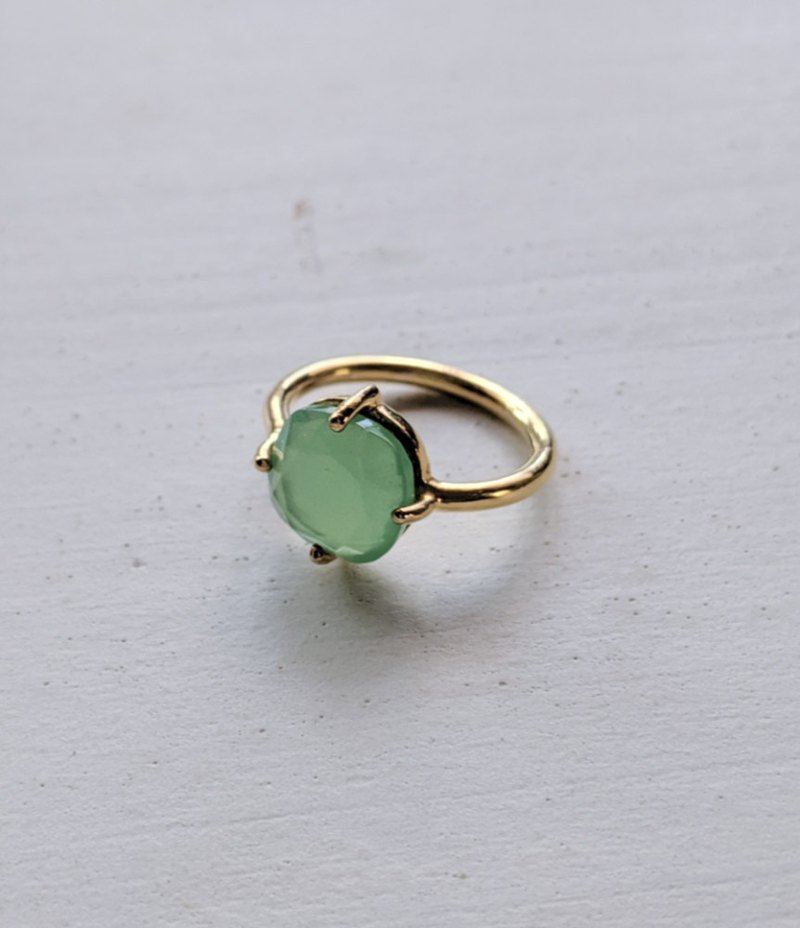 Apple green chalcedony ring