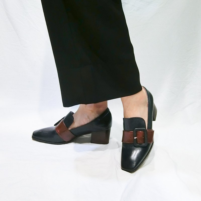 Colorblock buckle leather heel shoes ||Montage island black|| 8221