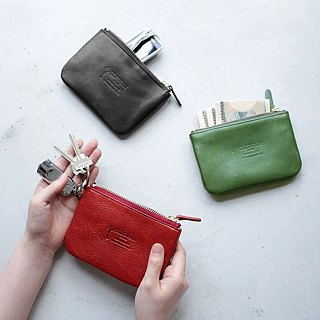 Texture life simple vegetable tanned leather small things package / change / key bag Made in Japan by CLEDRAN