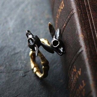 Rabbits Skull Ring - Black Version by Defy - Original Brass Handmade Jewelry - Statement Ring.