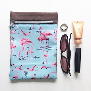 Long Zippered Pouch (Flamingo x Brown Blue)