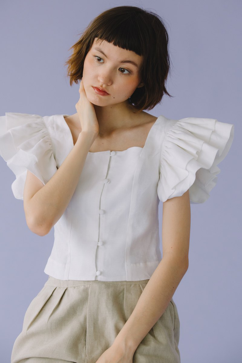 SHEATH SQUARE NECK TOP WITH DOUBLE RUFFLES SLEEVE IN WHITE PLAIN