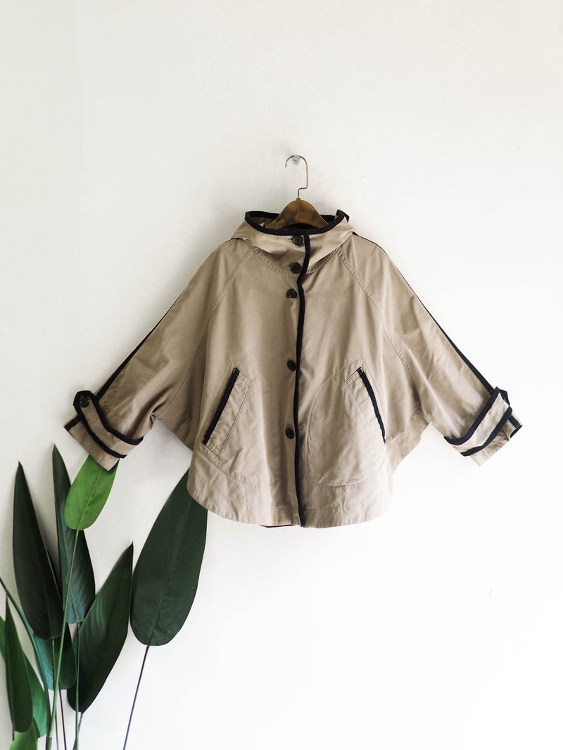 Macphee khaki hooded playful autumn girl antique thin windbreaker jacket dustcoat jacket