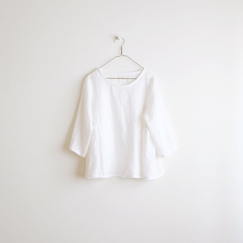 Daily hand-made suit white honey color air seven-point sleeve umbrella type blouse linen special