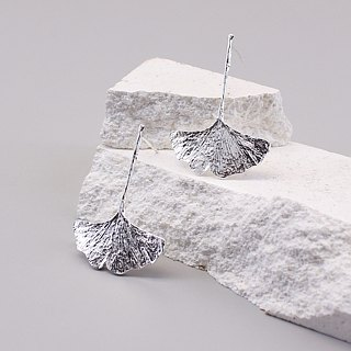 Gingko Leaf 925 Sterling Silver Earrings Nature Plant