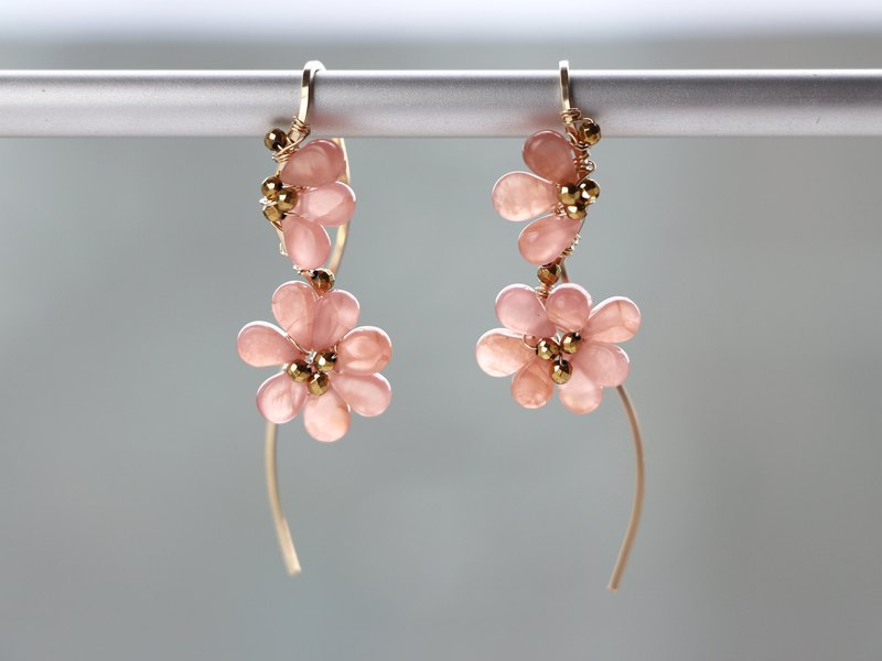 14kgf-fluffy blooming flower pierced earrings(可換耳夾)