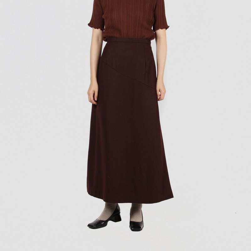 [Egg plant vintage] chamfered texture high waist long version of the ancient dress