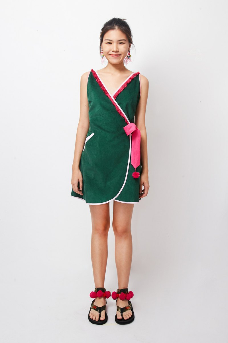 Mayu Mini Dress - GREEN (Mayu Green Short Dress)