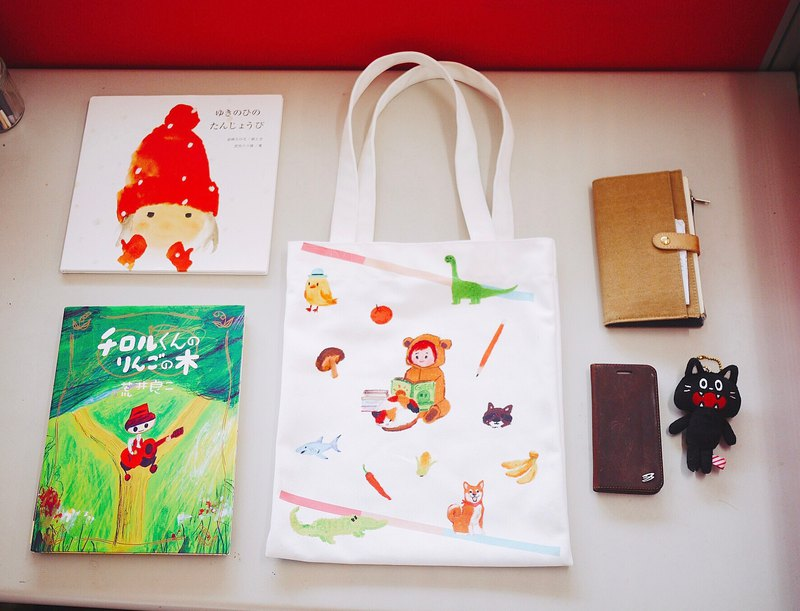 Crayon pen fun cute double-sided straight book bag canvas bag canvas bag handbag