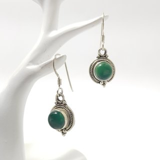 【ColorDay】綠瑪瑙古典純銀耳環_5月誕生石_Green Agate Silver Earring_グリーンメノウ瑪瑙