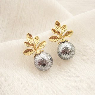 Jolie baby small tree buds gold powder gray pearl earrings