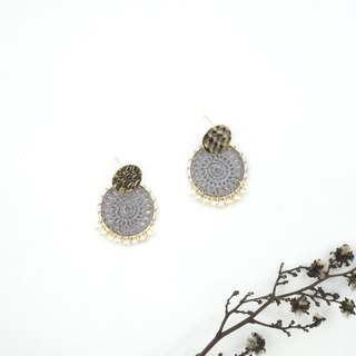 Design section. Mini White Pearl Weave Dreamcatcher Earrings