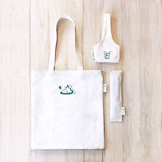 Canvas eco-set (tote bag, cup cover, cutlery set)