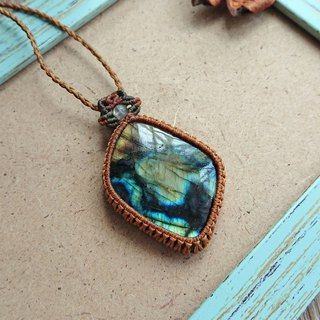 P28 Bohemian National Wind South American Wax Line Braided Labradorite Necklace Long Necklace
