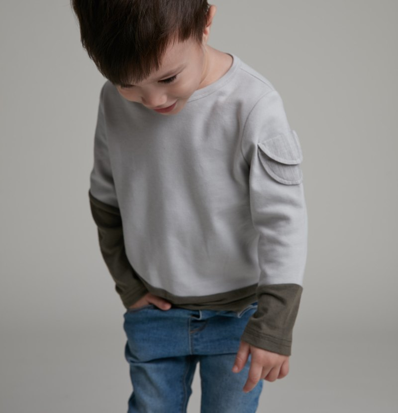 Curved cut long-sleeved top (gray)
