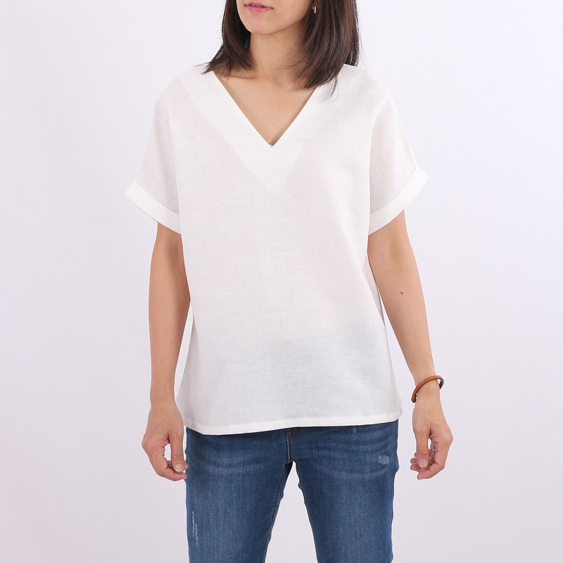 Over Sized Cotton Linen Blouse / Off White