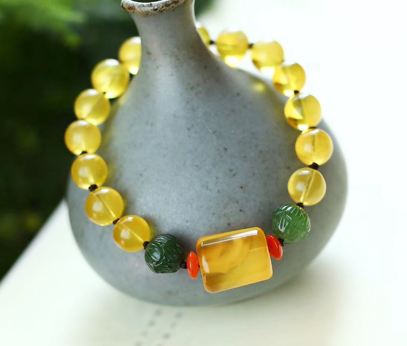 [Welfare price] boutique original natural beeswax ore gold twisted honey bracelet / with beeswax road pass / super beautiful