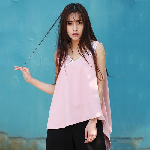 Anne Chen original design 2016 summer new literary fashion women white veins everywhere irregular vest tape