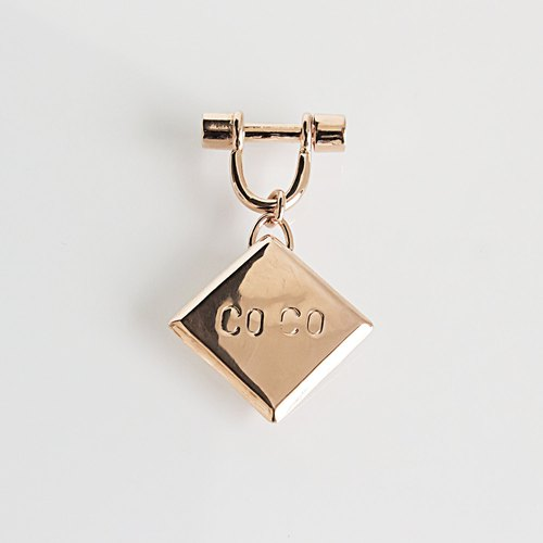 【Square gem】 custom brass tag, pet, key ring, bracelet are supermeal!