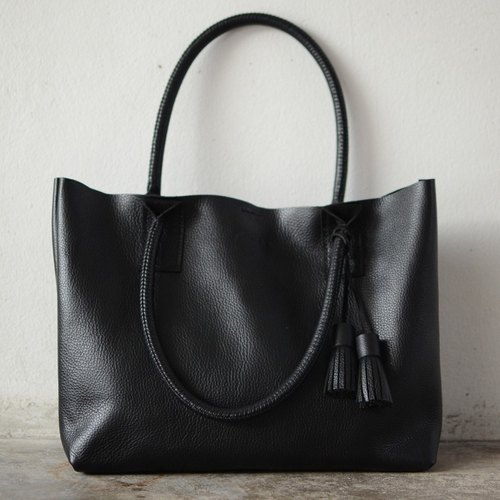 Hand-stitched Black Leather Tote Bag / Large Leather Handbag / Handmade Weekend Bag.