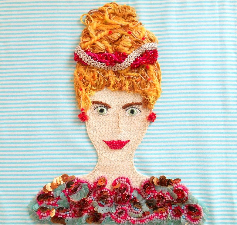 The Portrait of a Lady   embroidery beads art handmade