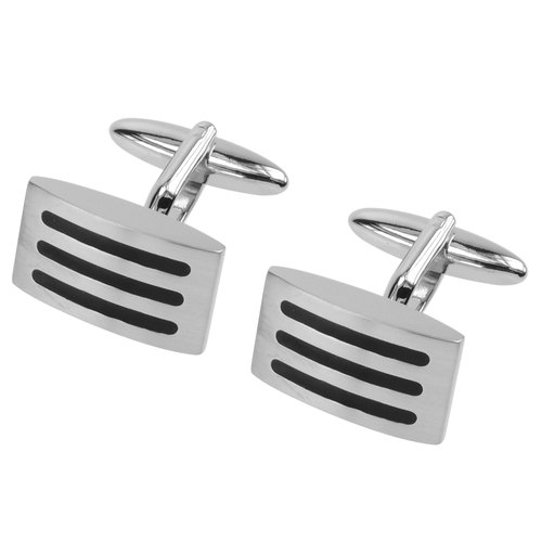 Black Enamel Stripe Domed Cufflinks