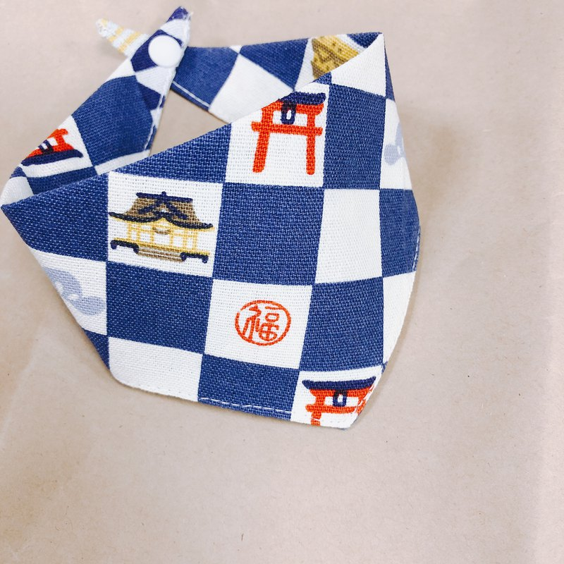 Dogs and cats scarf triangle scarf bird Jubilee India blue and white checkered buckle design can add hair ball