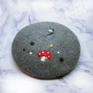 【Shell art】 100% pure wool felt berets (French mushroom gray)