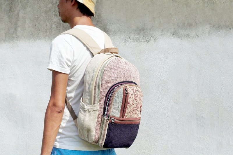 After the rapid arrival of Valentine's Day gift handmade cotton stitching design a limited edition backpack / shoulder bag / ethnic mountaineering bag / Patchwork bag - Geometry divided ethnic style travel bag