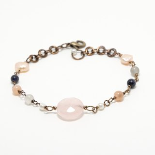 . Rose quartz bracelet lover. Rose Quartz Moonstone bracelet adjustable valentine