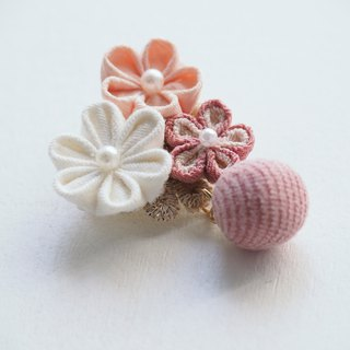 Lovely Pink and white Fabric Floral Corsage, Brooch custom