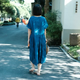 Preference | Indigo Natural Rain Dew Hemp Summer Short Sleeve Pleated Dress Blue Dye Dress