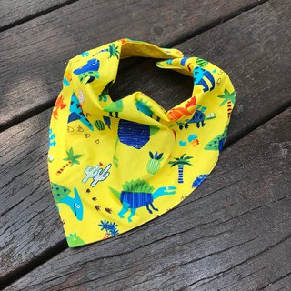 Fashion scarf*Dinosaur yellow*Stereo triangle bib